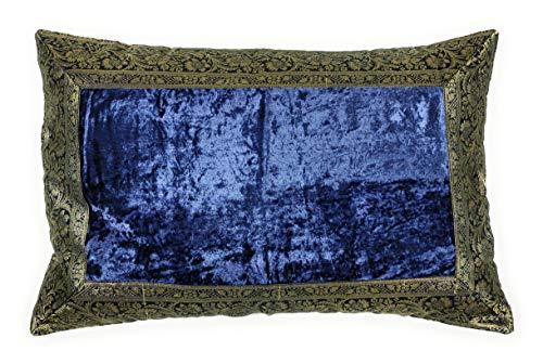 Aga's Own Indische Kissen 40 x 60 cm Kissenhülle Kissenbezug Orientalischer Bezug Indien (Dunkel Blau)