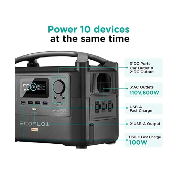 EF ECOFLOW RIVER Pro Portable Power Station 720Wh, Power Multiple Devices, Recharge 0-80% Within 1 Hour, for Camping, RV…