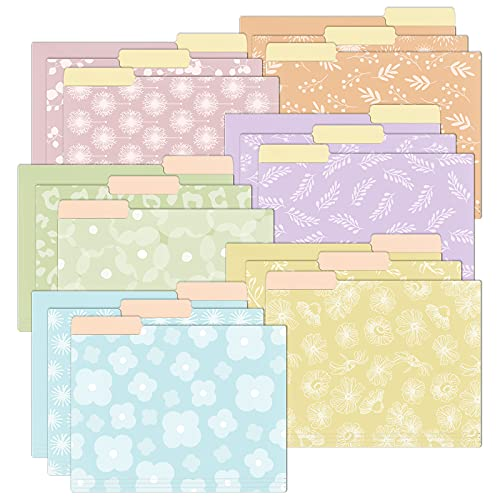 EOOUT 18 Pack Decorative Cute File Folder, Floral Folder, Colored File Folder, Letter Size, 1/3-Cut Tabs, 9.5 x 11.5 in, for Office, School, Home