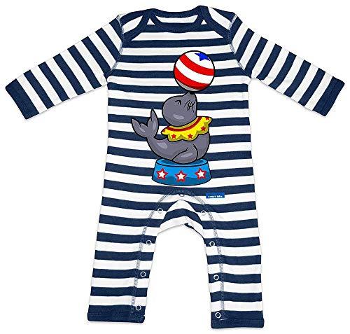 Hariz - Pelele para bebé, diseño a rayas, león marino, circo, animales, guardería, tarjeta de regalo, azul marino, blanco lavado, 3-6 meses