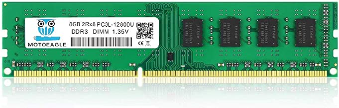 Motoeagle DDR3L-1600 UDIMM 8GB PC3L-12800U Non ECC Unbuffered 1.35V/1.5V CL11 2Rx8 Dual Rank 240 Pin UDIMM Desktop Memory Ram Module Upgrade