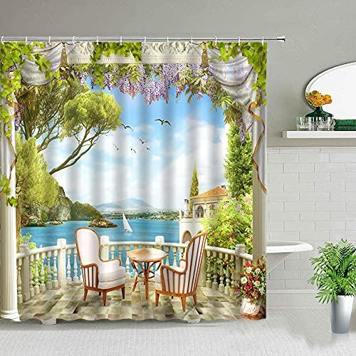 XCBN Paisaje Pastoral Planta de Flor del océano Paisaje de Primavera Cortina de baño Decoración de la bañera Paño Impermeable con Gancho 3180x200cm