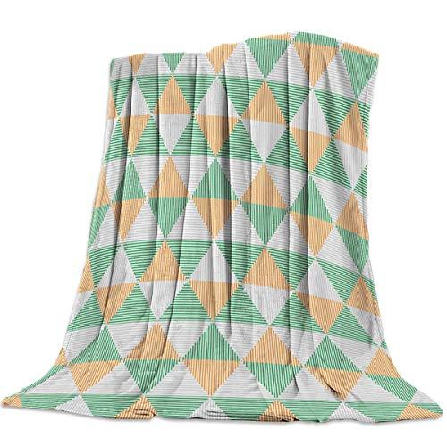 Manta de tiro para mantas para sofá, súper suave, acogedora, de lujo, manta de cama para uso durante todas las estaciones, patrón de mosaico de triángulo geométrico Blanket 125 X 100CM