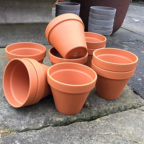 Weston Mill Pottery Small terracotta plant pots (pack of 10) 132mm diameter x 117mm high
