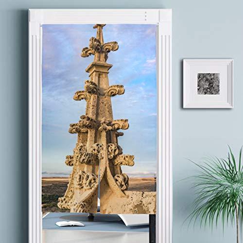 JISMUCI Cortinas,Detalle Arquitectónico Chapitel Catedral Gótica Segovia,Decoración del hogar para Cocina,Sala de Estar
