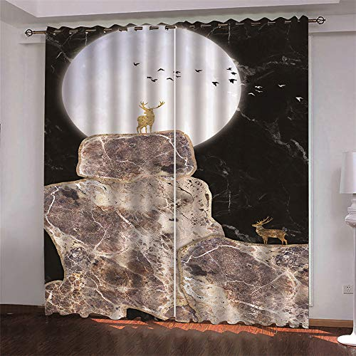 Modern Nordic Minimalist Style, All-Match Literary And Artistic Landscape Printing Curtains, Polyester Quick-Drying Curtains, Blackout Gauze Curtains For Living Room And Bedroom, Bay Window 2