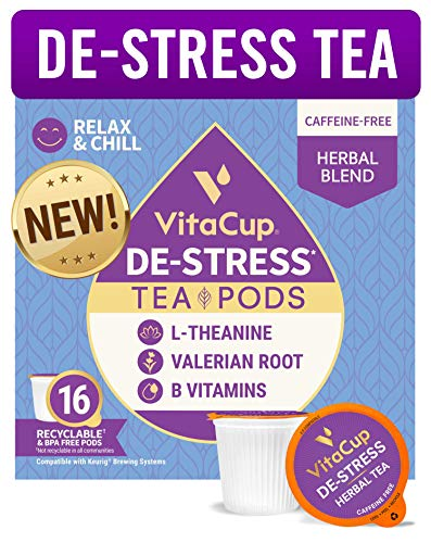 VitaCup DeStress Herbal Tea Pods 16 Ct   Relax & Chill   L-Theanine, Valerian Root & Vitamins B1, B5, B6, B9, B12   Compatible with K-Cup Single Serve Brewers Including Keurig 2.0