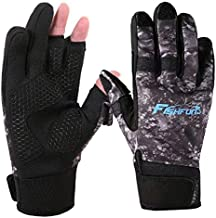 Fishfun Winter Fishing Gloves, Neoprene Touchscreen 3 Cut Fingers, Flexible Warm for Men Women in Cold Weather, Water Repellent for Ice Fishing, Fly Fishing, Photography, Jogging, Hiking, Cycling