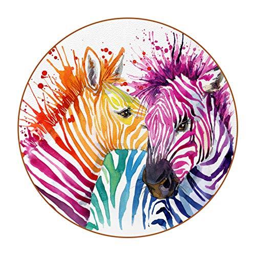 Un juego de 6 posavasos de tazas, posavasos, portavasos, diseño colorido de bricolaje, antideslizante de doble cara, evita muebles y mesa de colores de acuarela de cebra