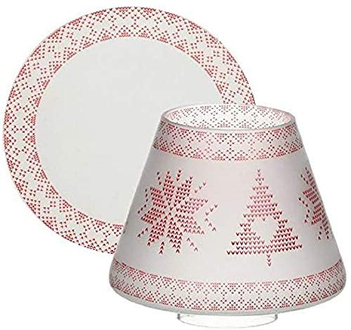 Yankee Candle Mountian Holiday Red Nordic Frosted Kleiner Schirm + Teller, Glas, Mehrfarbig, 13cm