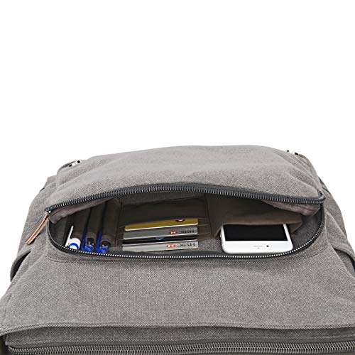 Ruschen Umhängetasche Herren aus Canvas, Hochwertige Herrentasche, Laptoptasche für 15,6 Zoll Laptop, Schultertasche/Kuriertasche/Messenger Bag, Grau