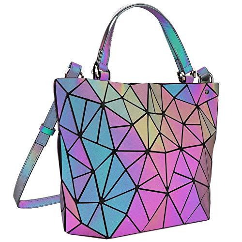 Tikea Geometrische Handtaschen - Umhängetasche Damen Fashion Leuchtende Henkeltasche Kunstleder Damenhandtasche Luminous Holographische Tasche mit Top-Griff leuchtend, M