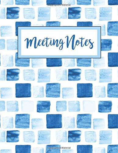 Meeting Notes: Business Organizer Notebook for Meetings   Minutes Taking Record Log Book With Action Items & Notes   Secretary Logbook Journal (Blue Watercolor Boxes, Band 1)