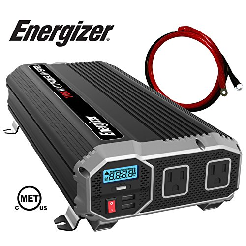 Energizer 1100 Watt 12V Power Inverter Dual 110V AC Outlets Automotive Back Up Power Supply Car Inverter Converts 120 Volt AC with 2 USB Ports 24A Each