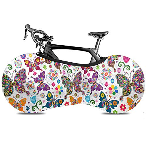 BYTKMRY Spring Floral Butterfly Bicycle Wheel Cover, Anti-Dust Bike Indoor Storage Bag Scratch-Proof Washable High Elastic Tire Package Fit All Bicycles Protective Gear Garage