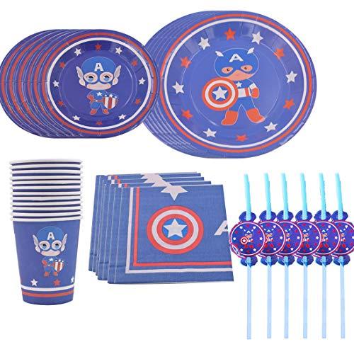 Juego de artículos para fiestas y juego de vajilla de 68 piezas para 12 personas, kit de decoración de cumpleaños para niñas y niños – Zigoli de cumpleaños, platos, tazas, servilletas, pajitas