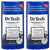 Dr Teal's Aluminum Free Deodorant - Charcoal - Paraben & Phthalate Free - 2.65 oz Pack of 2