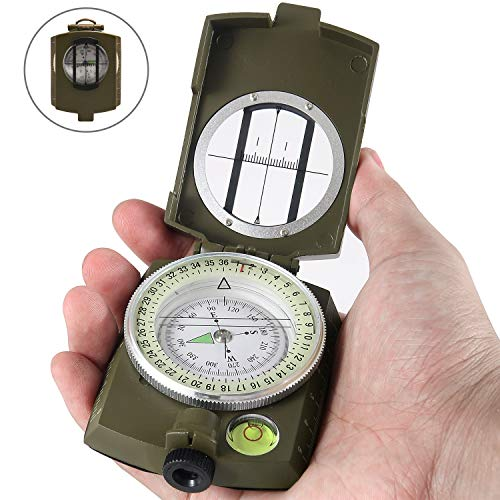 Eyeskey Multifunctional Military Lensatic Tactical Compass | Impact Resistant and Waterproof |Metal Sighting Navigation Compasses for Hiking, Camping, Motoring, Boating, Boy Scout (Green)