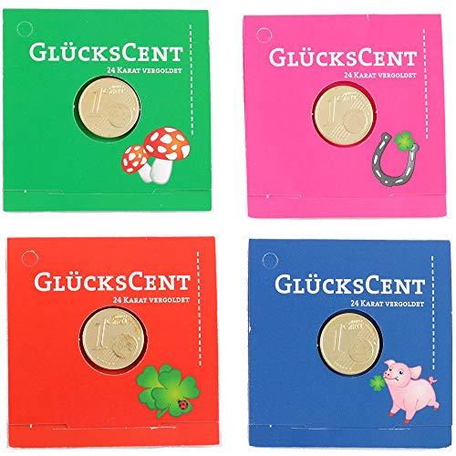 4er Set Glücksbringer Glückscent vergoldet Geschenk für Geburtstag, Gesundheit Genesung, Glücksschwein Glückspilz Kleeblatt Hufeisen
