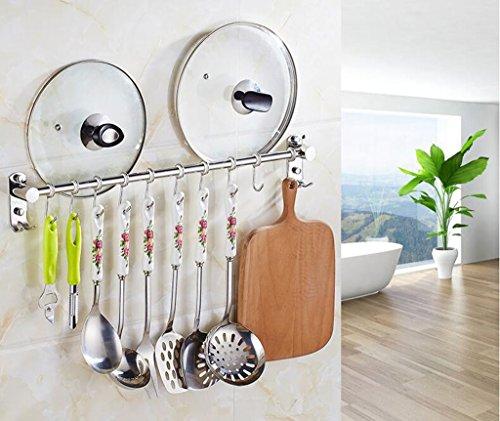 Étagères murales 304 en acier inoxydable cuisine rack de stockage support mural cuisine crochets patères crochets de suspension crochets 10 crochets