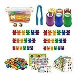 tanbea-ES Arcoíris contando Osos Clasificación de Vasos, reconocimiento de Color numérico Juguetes de Aprendizaje de matemáticas de reconocimiento de Color numérico