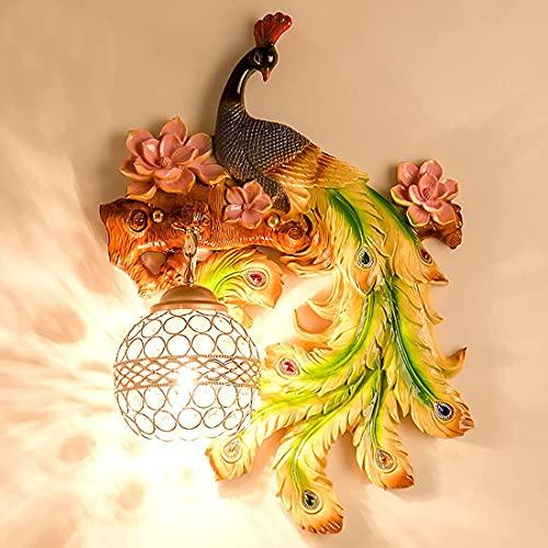 Rustieke wandlamp binnen woonkamer, antieke kleurrijke hars pauw wandlamp verlichting armatuur decoratieve E27 socket, kristallen lampenkap bedlampjes voor slaapkamer veranda babyk