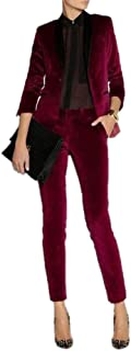 JYDress Women's Velvet Pant Suits Set Ladies Business Office Tuxedos Formal Work Wear