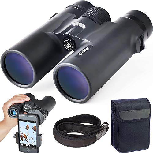 Gosky 10x42 Roof Prism Binoculars for Adults, HD Professional Binoculars for Bird Watching Travel Stargazing Hunting Concerts Sports-BAK4 Prism FMC Lens-with Phone Mount Strap Carrying Bag