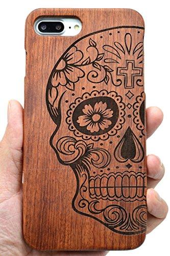 PhantomSky Coque iPhone 7/8 en Bois Véritable, [Série de Fabriqué à la Main en Bois/Bambou Naturel Housse/Étui pour Votre Smartphone - Crâne Palissandre