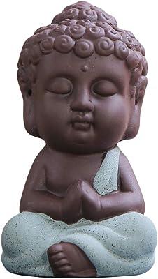 Snobbery Buddha Statue Adorable Monk Figurine Tathagata India Yoga Mandala Sculptures Ceramic Craft Decoration Car Home Ornaments Sand Flower Garden Decors (Blue)