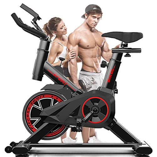 Cyclette Verticale Che Gira Bici da Ciclismo con Resistenza Elettromagnetica, Supporto Dispositivo, Monitoraggio della Frequenza del Polso ECC.