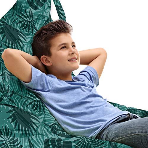ABAKUHAUS Hawaiiaans Zitzak, Monotone Jungle Planten, Veel Ruimte om Zacht Speelgoed als Knuffels in op te Bergen, met Handvat, Pale Teal Hunter-groen