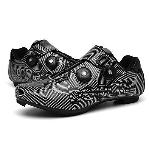 JINFAN Zapatos De Ciclismo para Hombres Mujeres,Zapatos para Montar En Carretera, Zapatos Giratorios con Hebilla, Tacos Compatibles con SPD Look Delta,Black-8UK=(260mm)=42EU