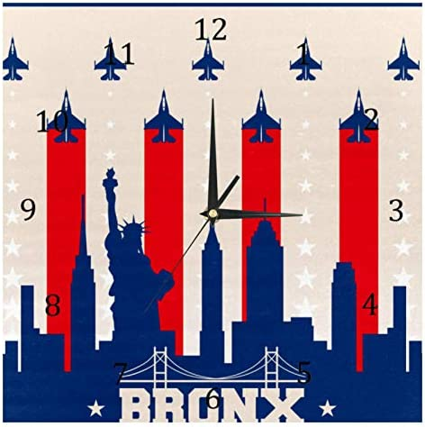 BestIdeas Bronx Skyline Stille Quartz Wandklokken Niettikken Batterij Operated Klok Home Decor voor Slaapkamer Woonkamer Keuken Kantoor