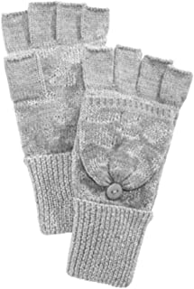 Inc International Concepts Metallic Pop Top Gloves in Grey/Silver