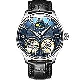 FAPROL-BINGER Orologio da Uomo Meccanico, Orologi da Polso con Visualizzazione Fasi Lunari, Automatici Orologi Cinturino in Pelle Blue