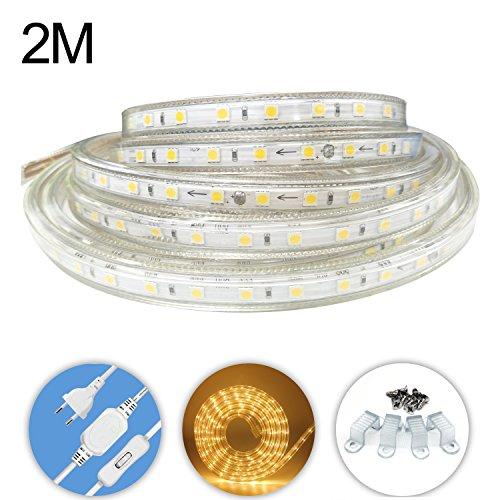 AveyLum LED Lichtband Warmweiß 2M/6.56ft LED Streifen Lichtleiste 2835 SMD Wasserdicht LED Leisten für zu Hause Küche Festival Weihnachten (220V)