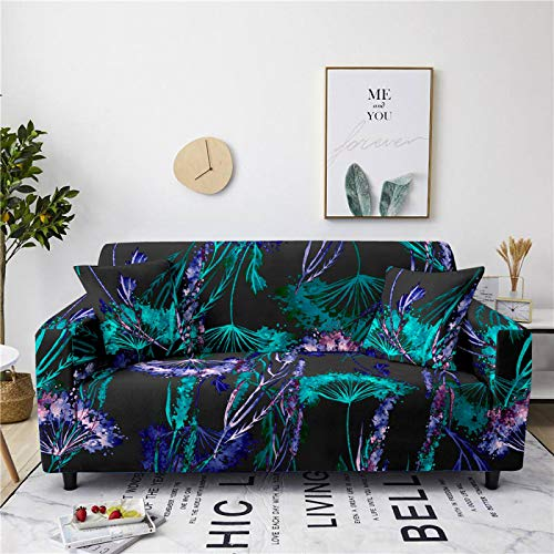 Stretch Sofa Couch Covers Elastic Fabric Green Water Color Pattern Universal Fitted Armchair Loveseat Settee Slipcover Durable Furniture Protector From Dogs/Pets/Kids,2,Seat 145,185cm