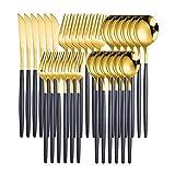 Bestecksets Spiegelgrüngold Edelstahl Besteck Set Gabel Messer Set Küche Kinder Besteck Geschirr Geschirr Silberwaren Besteck Geschirr Sets küchenutensilien (Color : Black gold 30pcs)