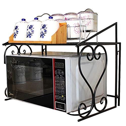 Double métal four à micro-ondes rack grille de four, partition de cuisine de bureau rack assaisonnement stockage, boîte de stockage stable cookware, rack de stockage de table d'économie de l'espace