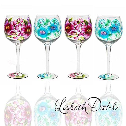 De alta calidad de la decoración en el de Weinglässer 4er Set de Lisbeth Dahl, de la mano de! Material: cristal, con diseño de flores, para un hermoso diseño de vino de Por la noche