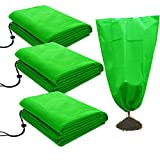 """3 Pack Plant Covers Freeze Protection 2.8oz Thicken Winter Drawstring Plant Frost Cover 31"""" x 39"""" Winter Frost Protection for Plants Anti-Freeze for Shrub and Trees Green"""