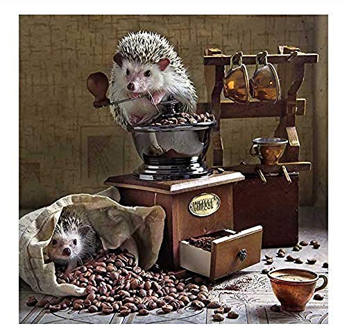 Hxfhxf Malen nach Zahlen für Erwachsene DIY Acrylmalerei nach Zahlen Kit für Erwachsene Kinder Igel Kaffee Tier 40x50cm