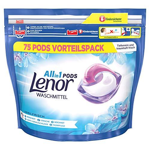 Lenor Waschmittel Pods All-in-1, 75 Waschladungen, Lenor Aprilfrisch mit Duft von Frühlingsblumen