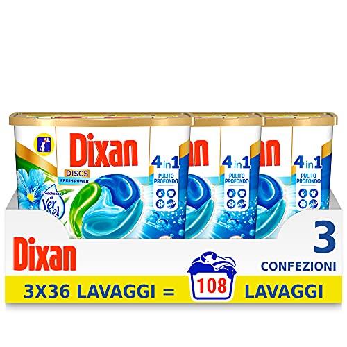 Dixan Discs Frische di Vernel, vordosiertes Waschmittel in Kapseln, 3 x 36 Waschgänge – 2700 g