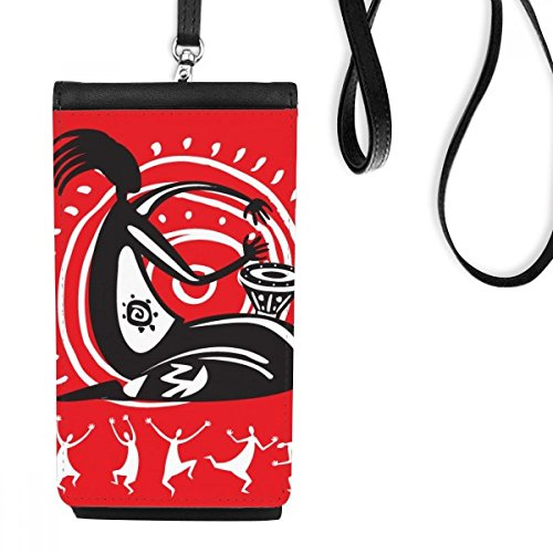 Tambourine Mexican Dance Celebrate Mexico Phone Wallet Purse Hanging Mobile Pouch Black Pocket