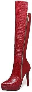 Hoge Laarzen Dames, Dames Plateauzolen, Puntige Stiletto Damesschoenen Met Hoge Hakken,Red,34