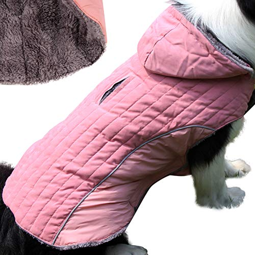 JoyDaog Fleece Dog Hoodie for Small Medium Dogs Super Warm Puppy Jacket for Cold Winter Dog Coats,Pink M