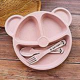 3 unids/Set Baby Bowl + Cuchara + Tenedor Alimentación Alimentación Vajilla Cartoaje Oso Dibujos Animados Niños Platos Comiendo Tenedor Tenedor Anti-Caliente Cena Plato (Color : Ping Set)