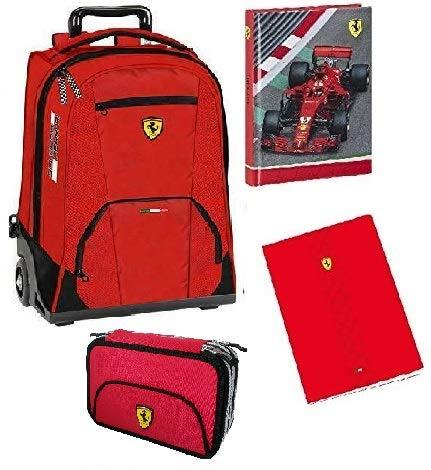 Trolley Scuola Ufficiale Scuderia Ferrari + Astuccio 3 zip + Diario + 3 quaderni Ferrari Omaggio
